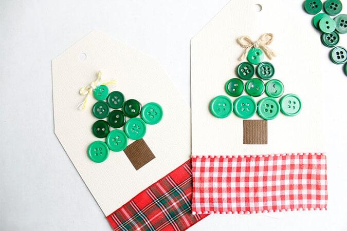 Button Christmas Tree Gift-Tag