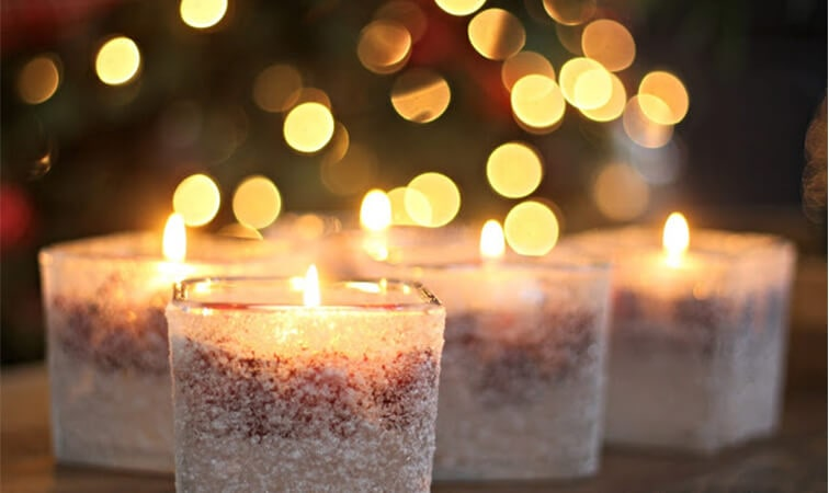 DIY snow candles from votives