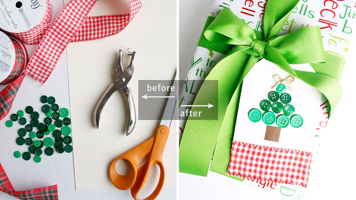 DIY Button Christmas Tree Gift Tag