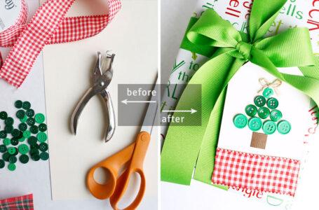 DIY Button Christmas Tree Gift Tag