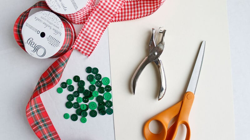 Buttons Scissors Gift Ribbon