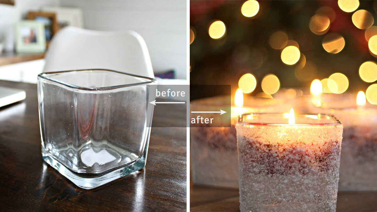 DIY Snowy Holiday Candles from Votive Holders