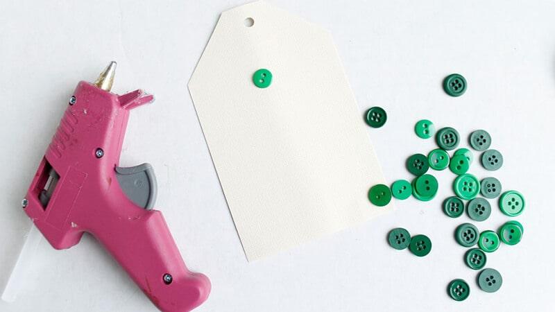 Glue Gun, Green Buttons, Cardstock