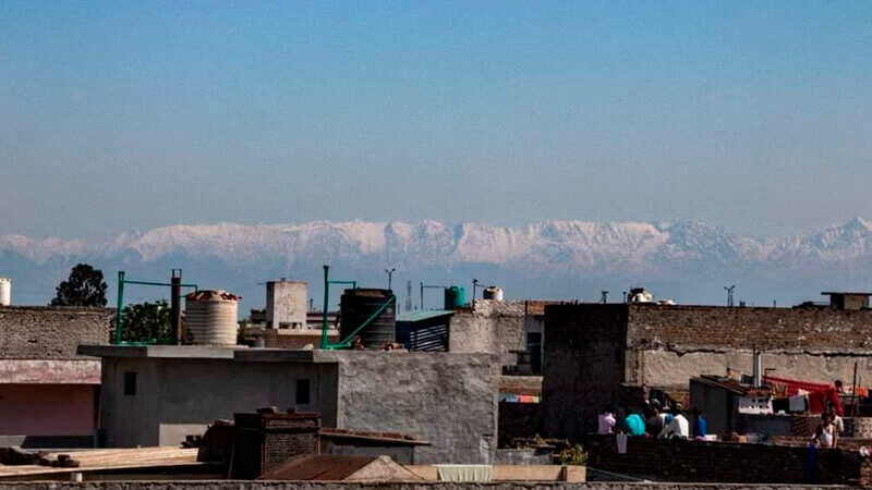 Himalayas seen after the decrease of air pollution