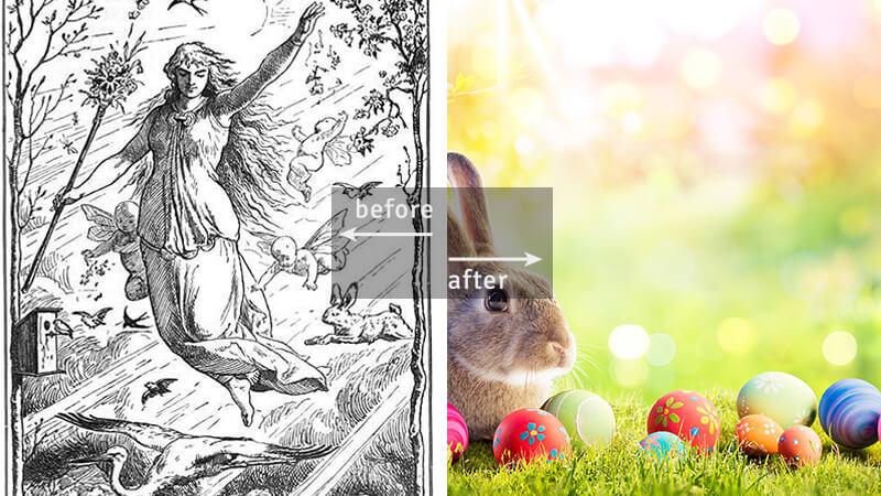 Ostara - goddess of spring / Easter bunny & eggs